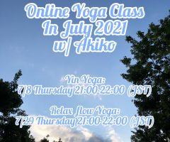 Online Yoga Class in July, 2021