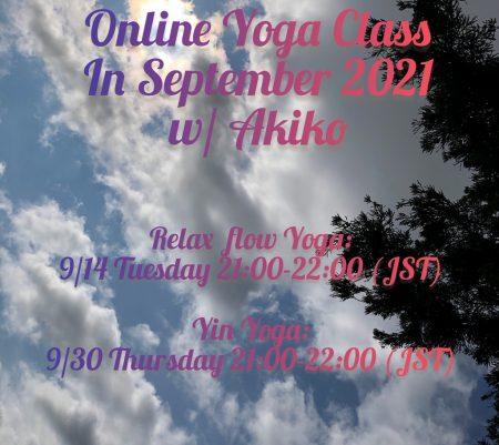 Online Yoga Class in September, 2021