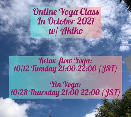 Online Yoga Class in October, 2021